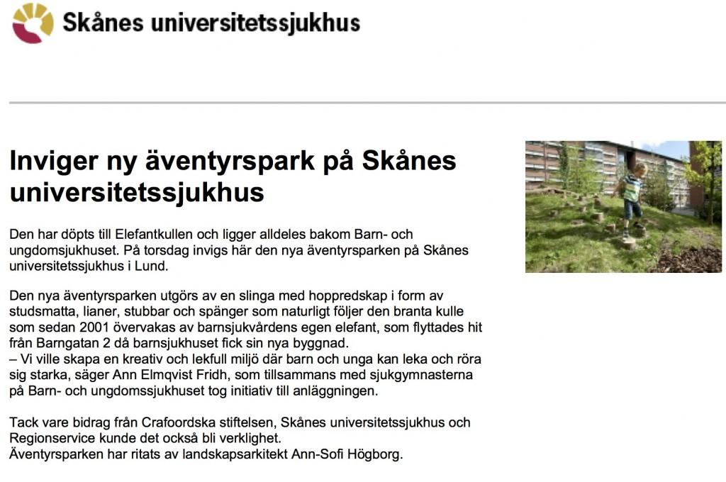 Inviger ny äventyrspark på Skånes universitetssjukhus - Region Skåne